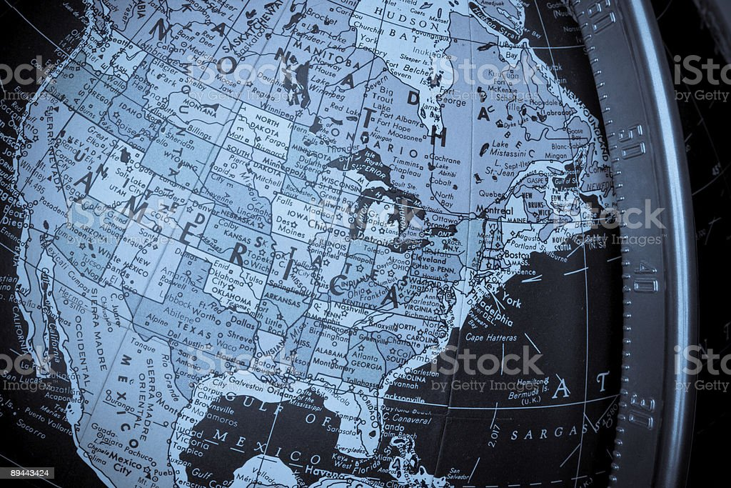 North America Map on a Globe with United States Region royalty-free stock photo
