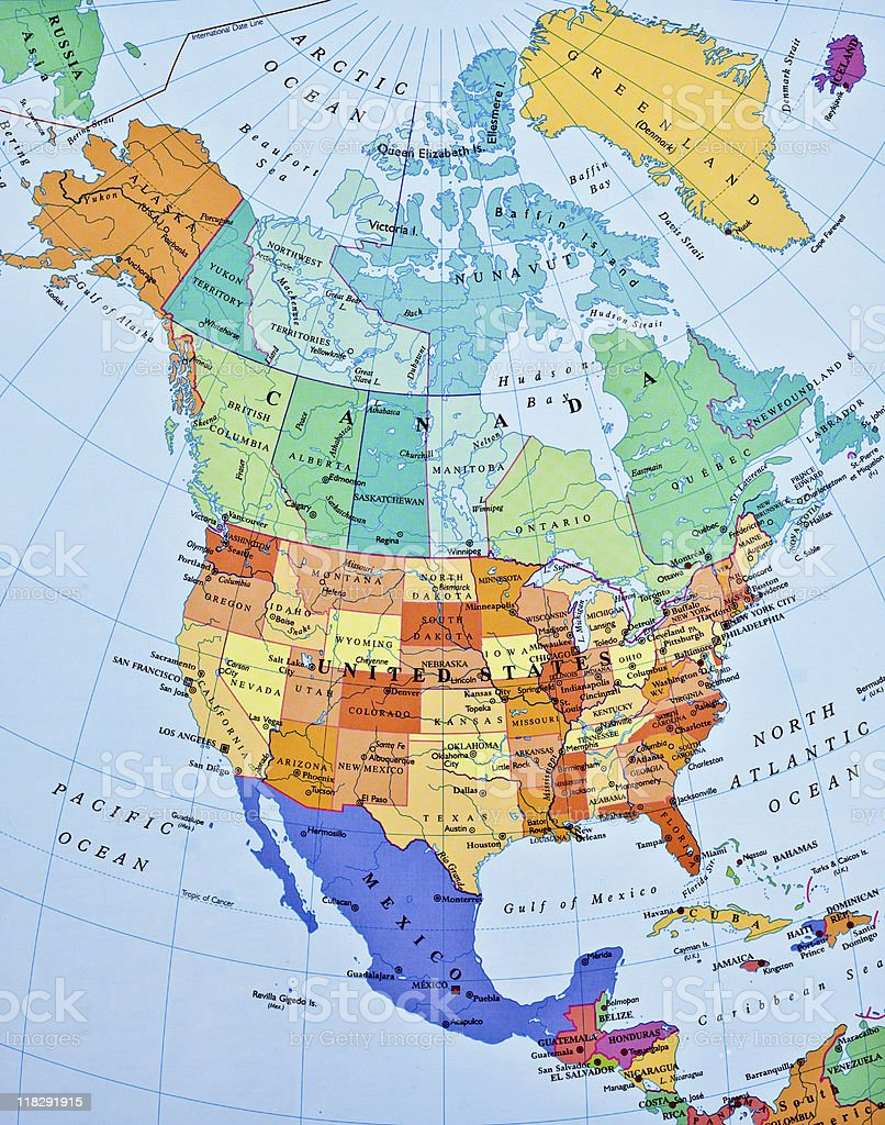 North America map stock photo