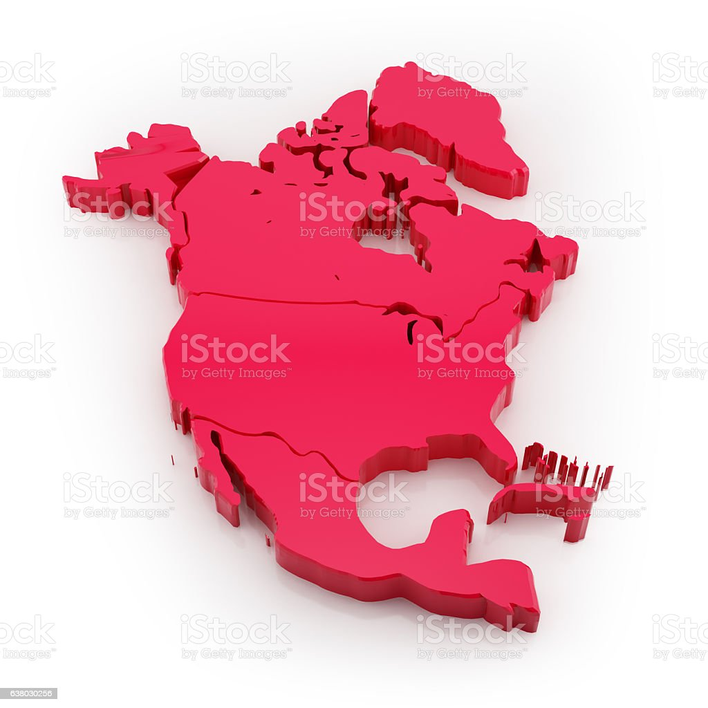 North America map red isolated on white - foto de stock