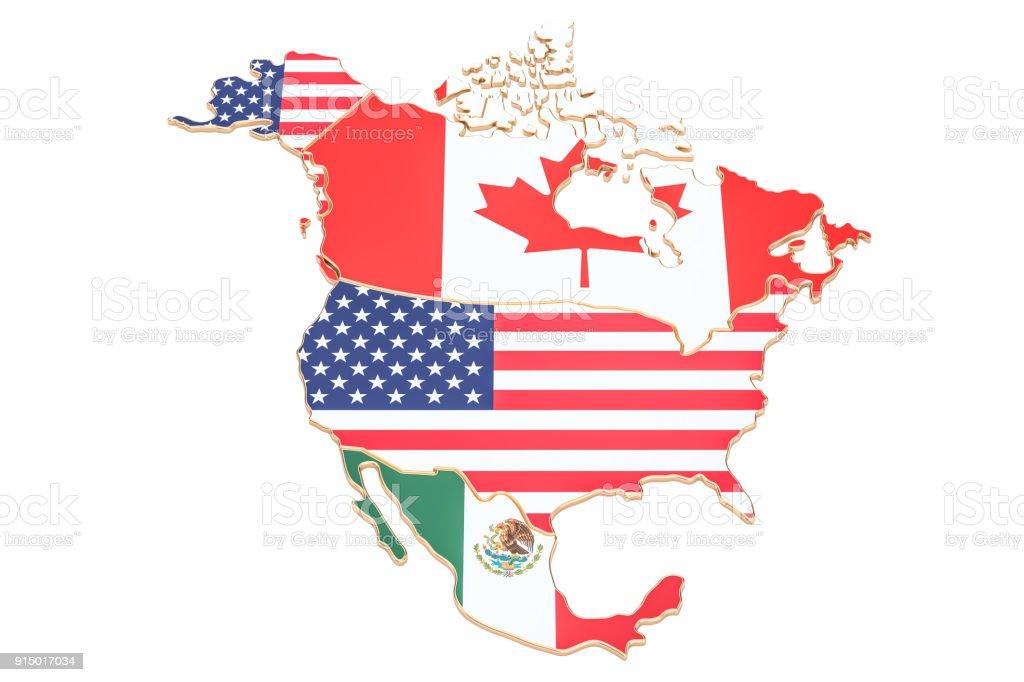 North america map with flags of the USA, Canada and Mexico. 3D rendering isolated on white background stock photo