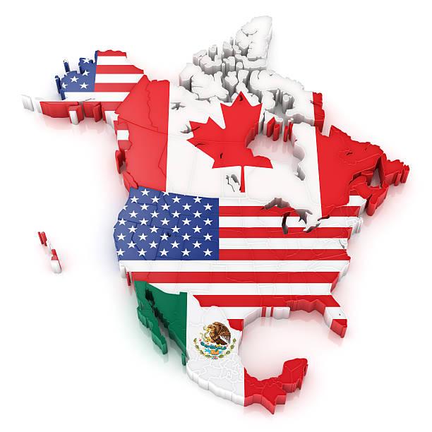 mapa de américa del norte, con banderas de estados unidos y canadá y méxico - bandera mexico fotografías e imágenes de stock