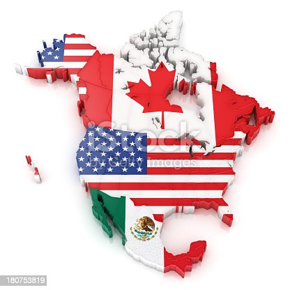 North America Map With Flags Of Usa Canada And Mexico Stock Photo - Usa and mexico map