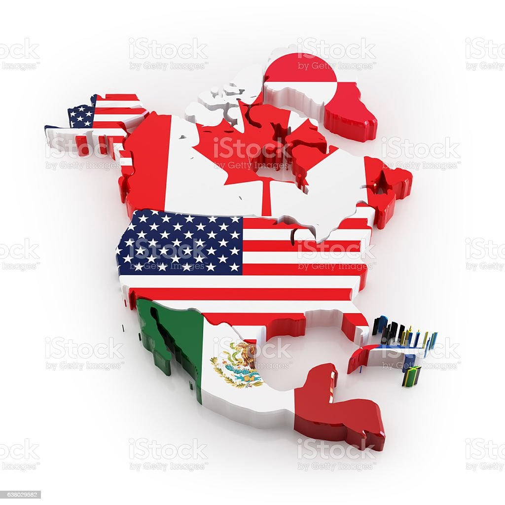 North America map with flags stock photo