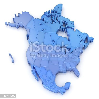 North America Map With Usa Canada And Mexico Stock Photo - Usa canada mexico map
