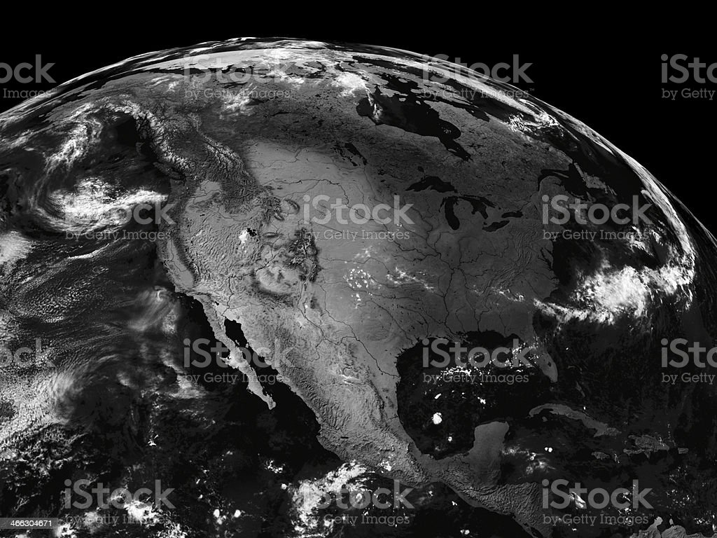 North America On Black Earth Stock Photo Download Image Now Istock