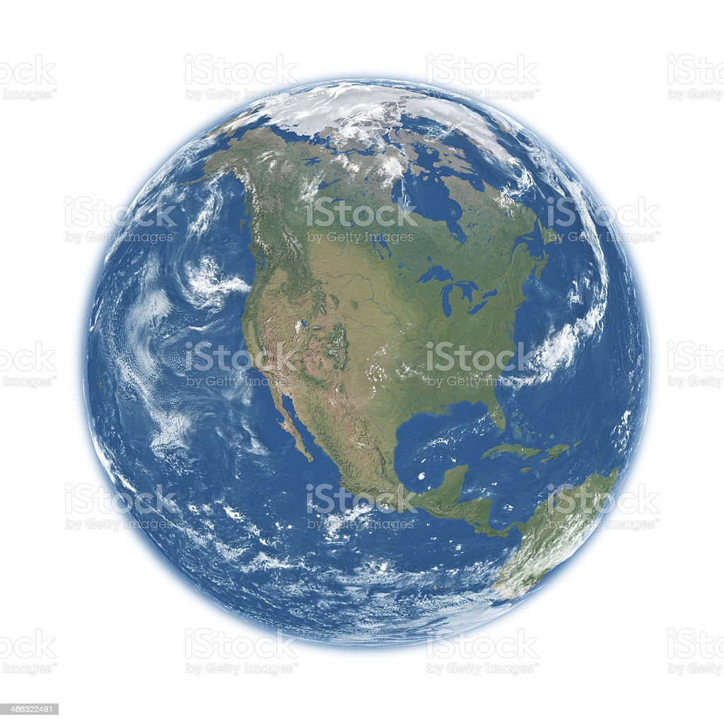 North America on blue Earth stock photo
