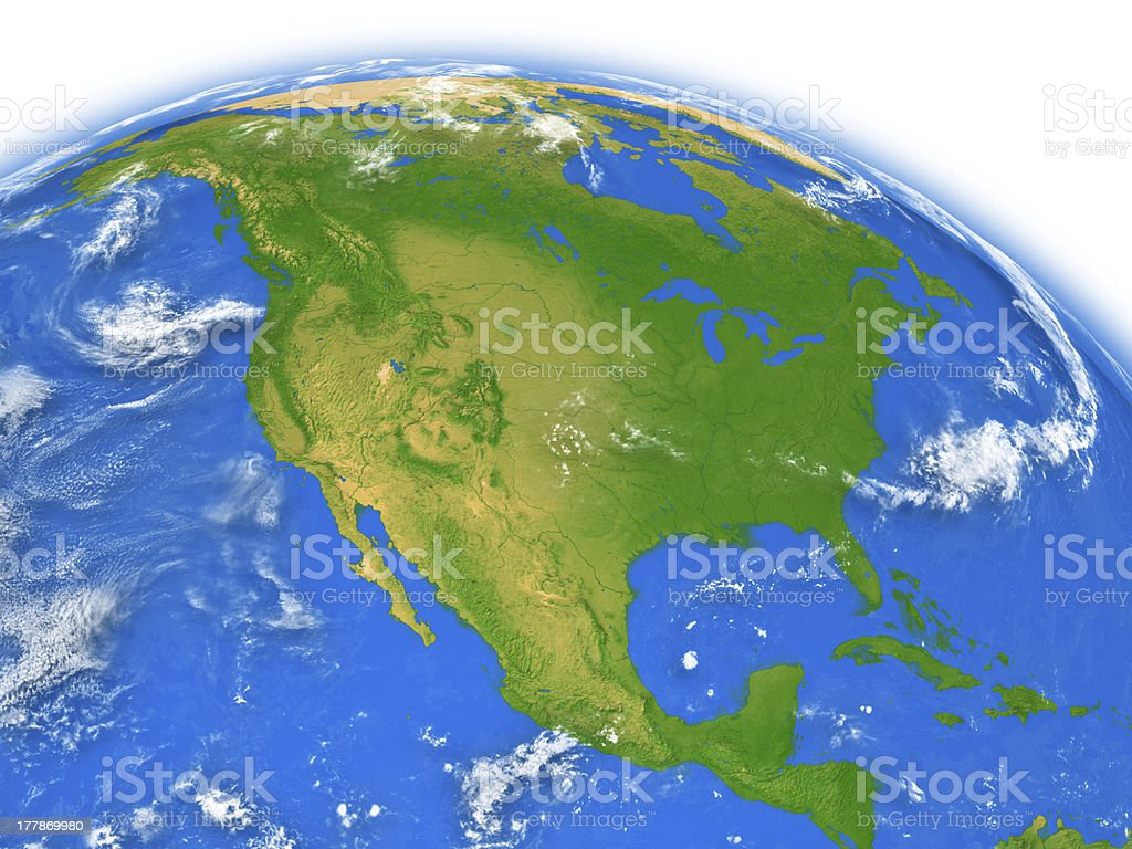 North America on Earth stock photo