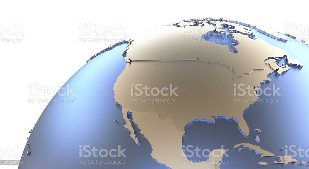 North America on metallic Earth stock photo