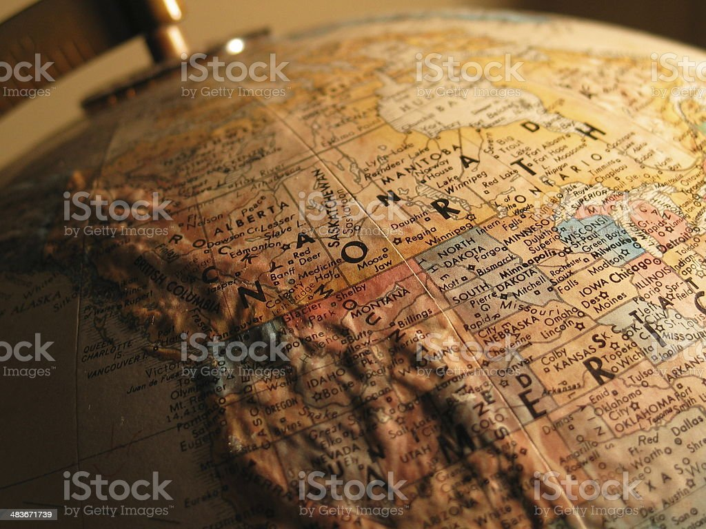 North America on the Map stock photo