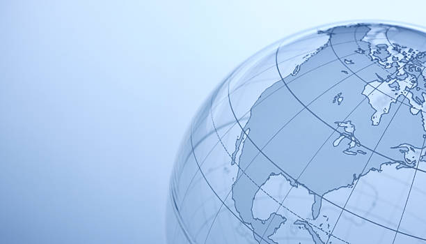 North America Close up of transparent globe showing North America. longitude stock pictures, royalty-free photos & images