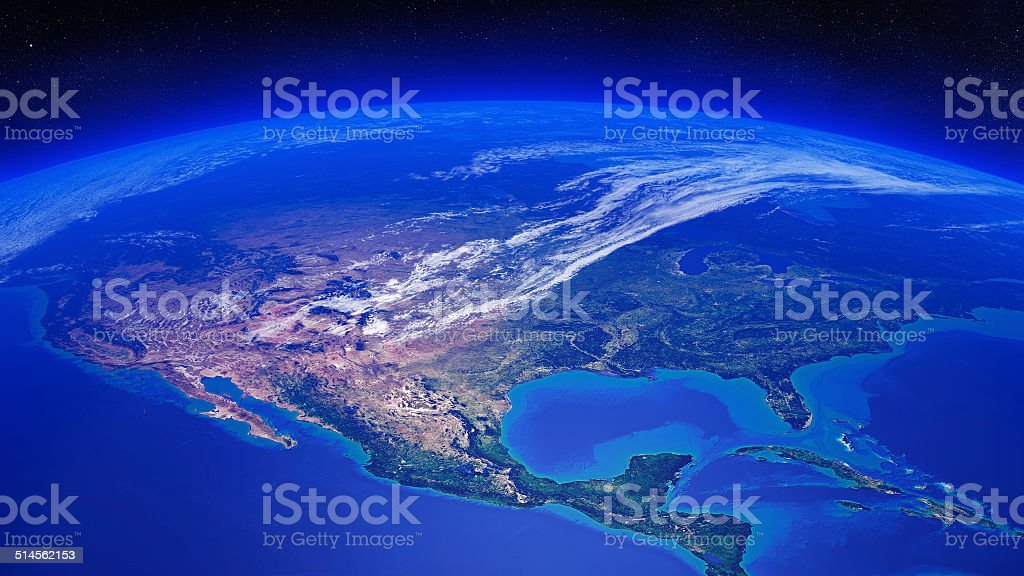 North America seen from space stock photo