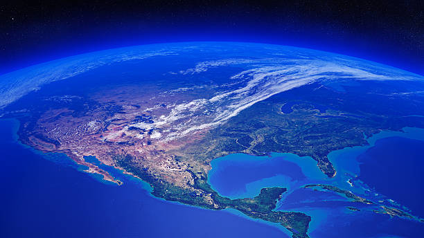 north america seen from space - north america stock photos and pictures