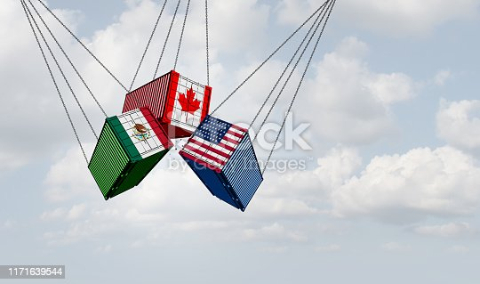 USMCA north america or the new NAFTA United States Mexico Canada agreement symbol with flags as a trade deal negotiation and economic deal fot the American Mexican and Canadian government's as a 3D illustration.