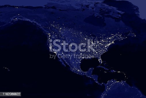 North American continent electric lights map at night. Electric  lighing of cities USA, Canada, Mexico at night. Map of North and Central America. View from outer space. Mixed media