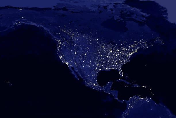 mapa de luces eléctricas del continente norteamericano por la noche - us map fotografías e imágenes de stock