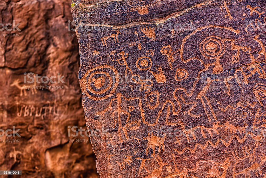 North American Petroglyph stock photo