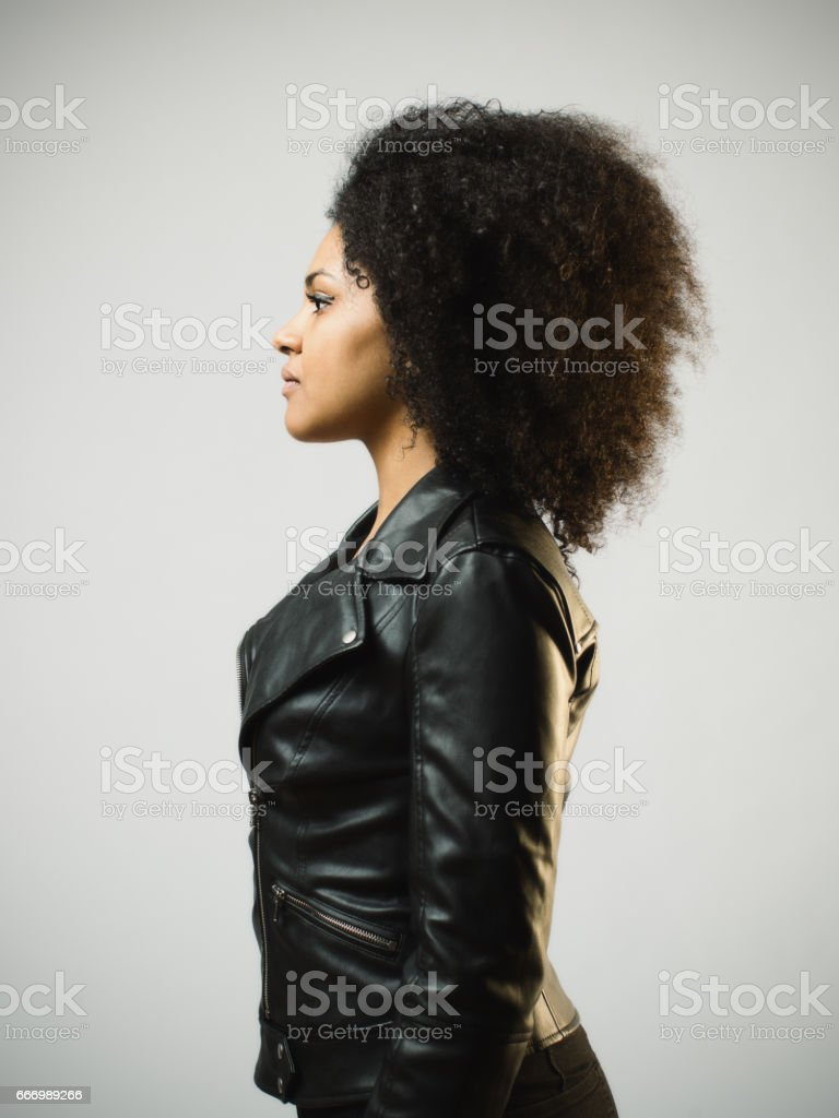 North american woman with blank expression stock photo