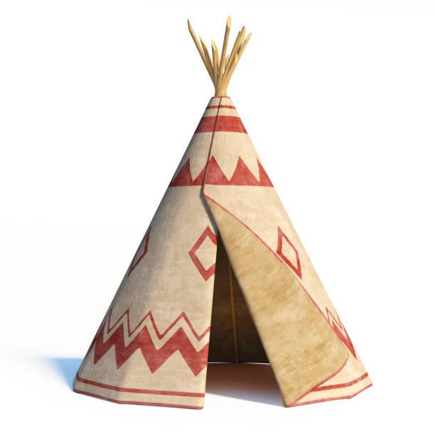 nord-amerika indianerzelt, tipi, isoliert auf weißem hintergrund - tipi zelt stock-fotos und bilder