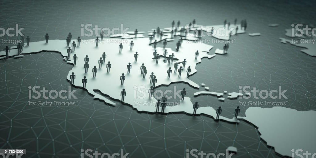 North And Central America Population stock photo