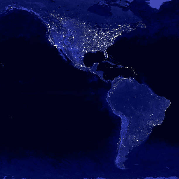 North and South America lights map at night. View from outer space North and South America lights map at night. View from outer space latin america stock pictures, royalty-free photos & images