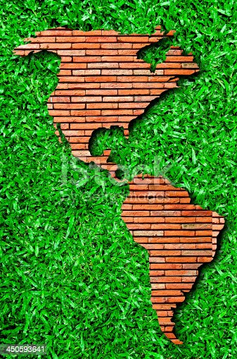 The North america and south america on green grass background