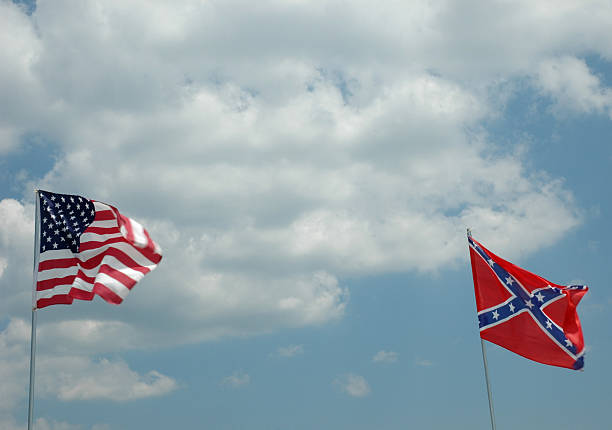 North and South Flags stock photo