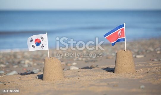 North and South Korean flags on beautiful beach