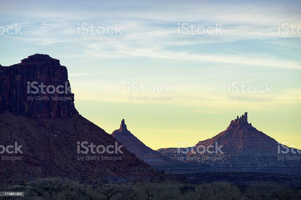 North and South SIxshooter Peak Southwest Landscape stock photo