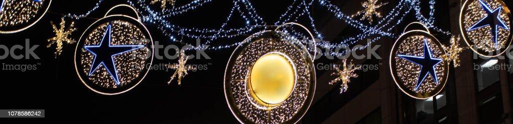 North bank Christmas lights stock photo