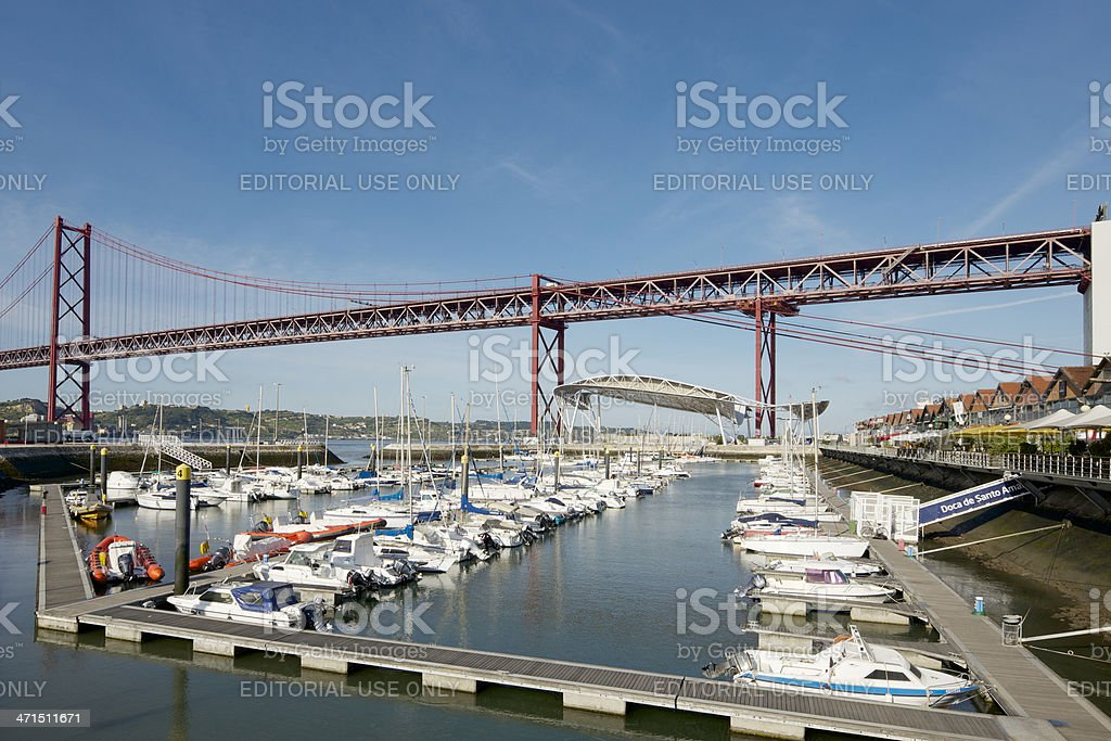 North bank of Tagus River underneath the 25th April Bridge royalty-free stock photo