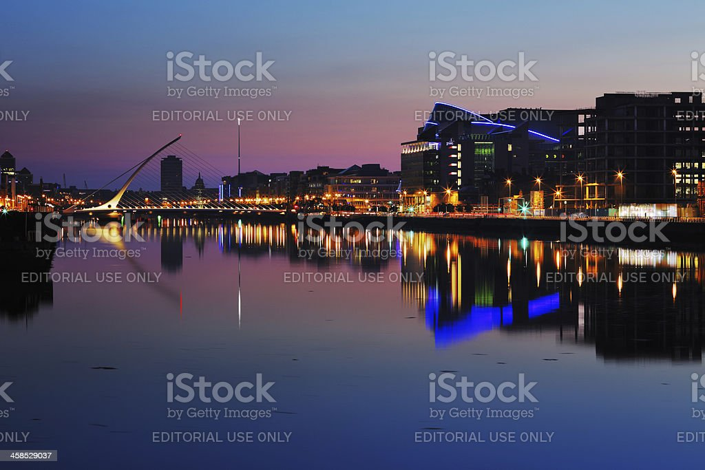 North bank of the river Liffey at Dublin City Center royalty-free stock photo