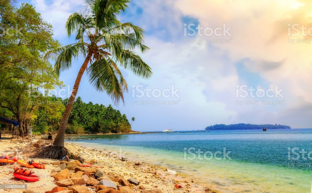 North Bay island sea beach at Andaman India with idyllic landscape view. stock photo