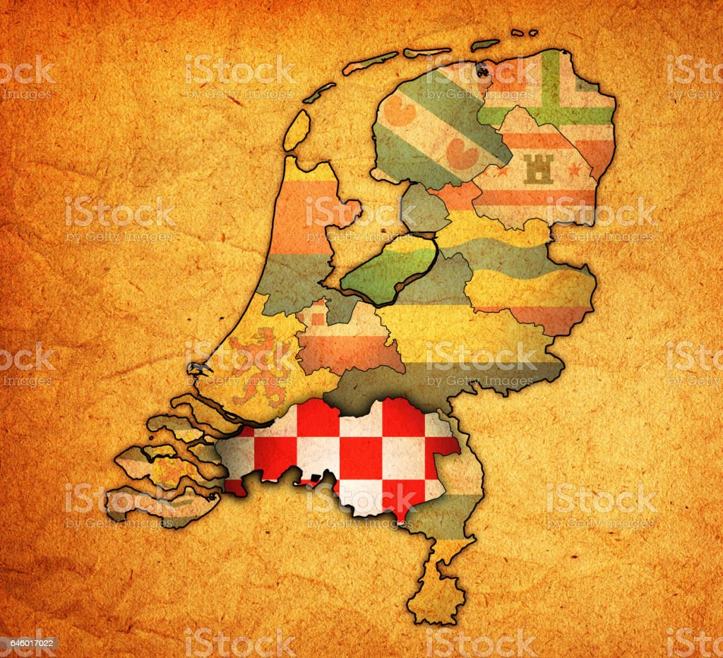 north brabant flag on map with borders of provinces in netherlands