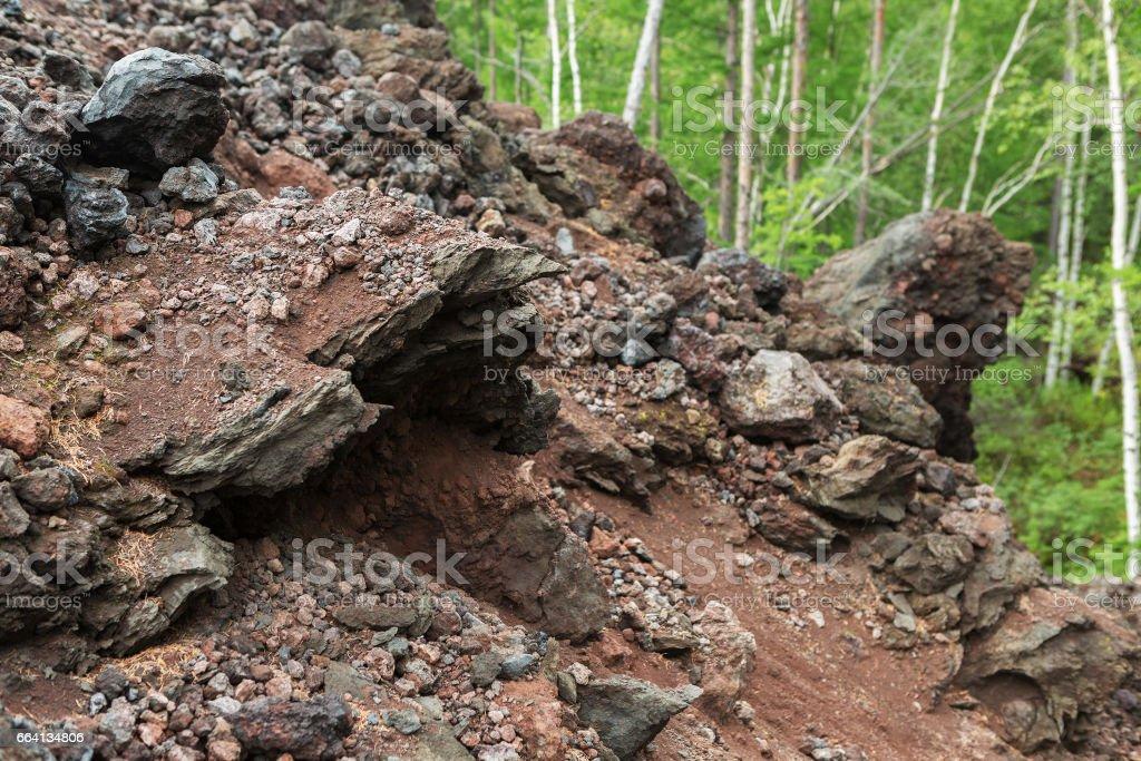 North Breakthrough Great Tolbachik Fissure Eruption in Kamchatka foto stock royalty-free