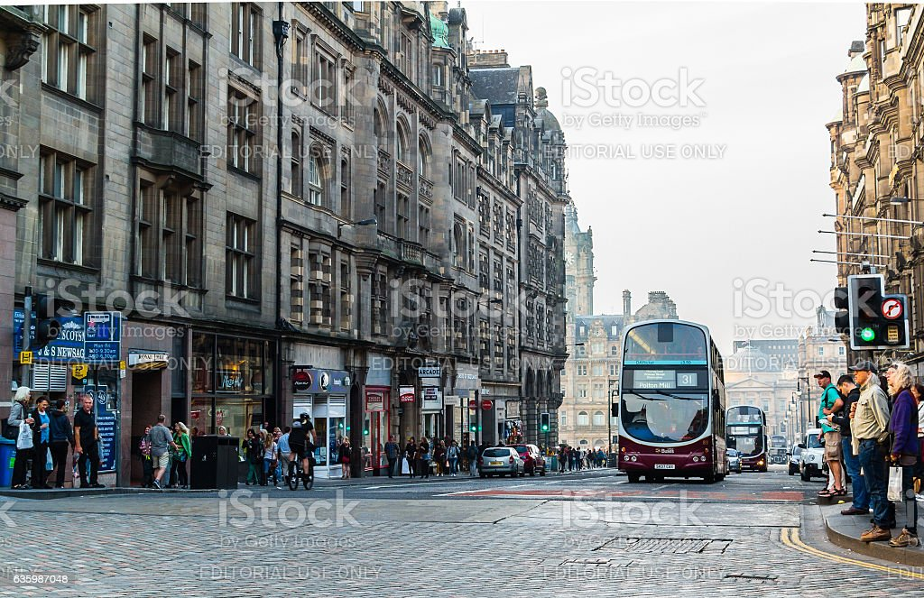 North Bridge street in Edinburgh, Scotland stock photo