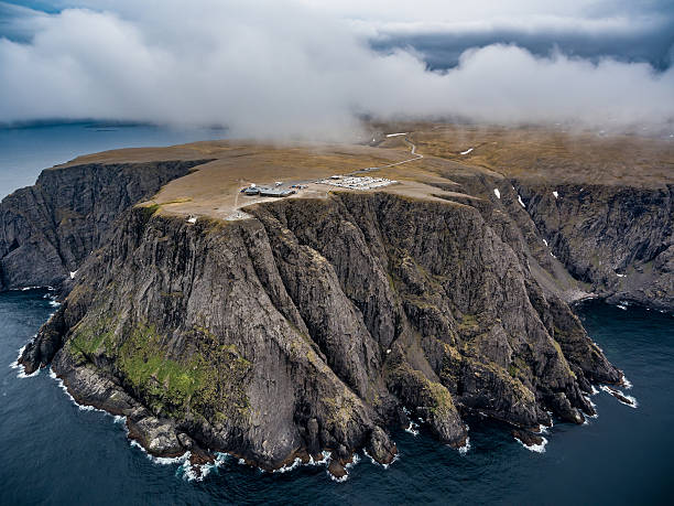 north cape (nordkapp) aerial photography, - nordkap stock-fotos und bilder