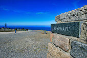 North Cape sign on the island of Mageroya, Northern Norway