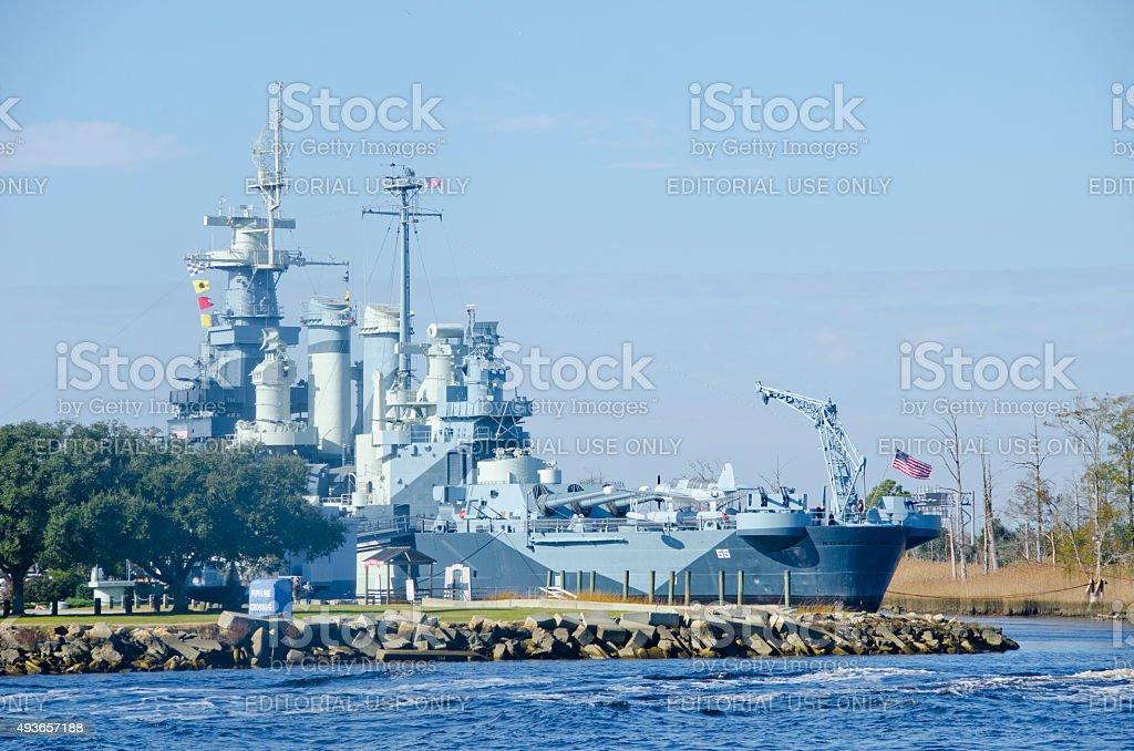 USS North Carolina Battleship stock photo
