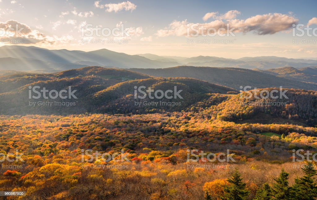A North Carolina Blue Ridge Mountains Sunset In Autumn From Sugar Mountain Stock Photo Download Image Now