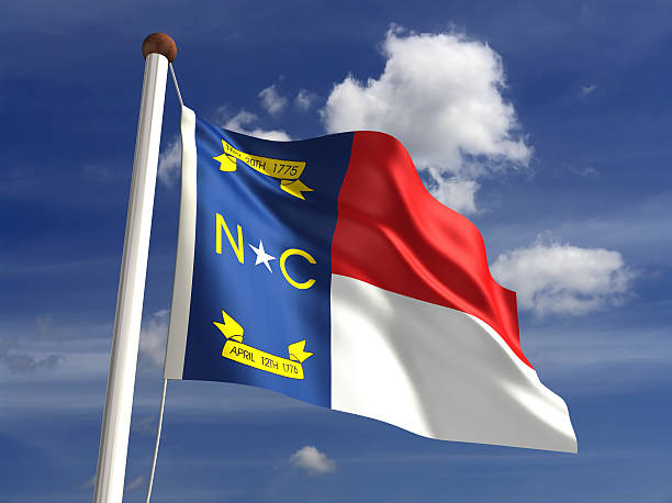 North Carolina flag (with clipping path) stock photo