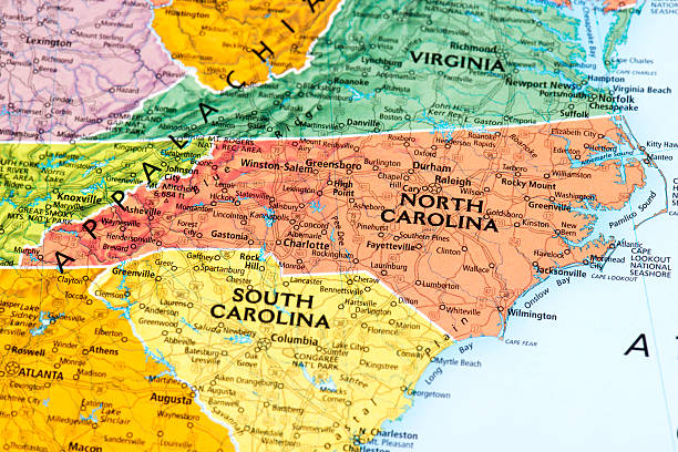 North Carolina Map of North Carolina State.  north carolina us state stock pictures, royalty-free photos & images