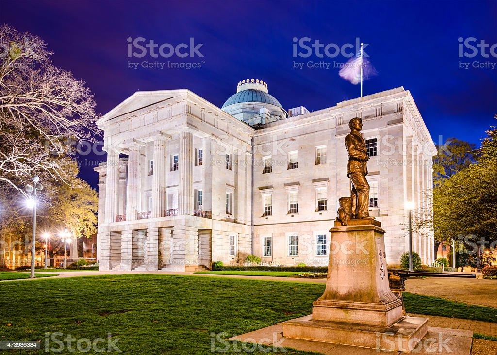 North Carolina State Capitol building lit up at night stock photo