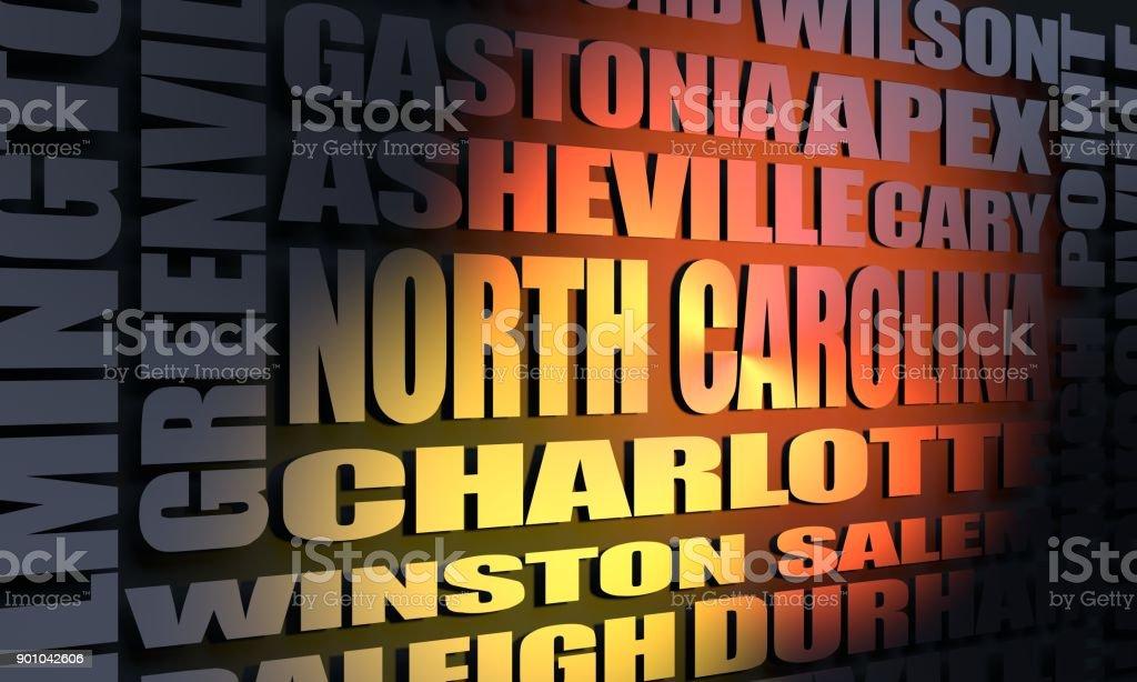 North Carolina state cities list stock photo