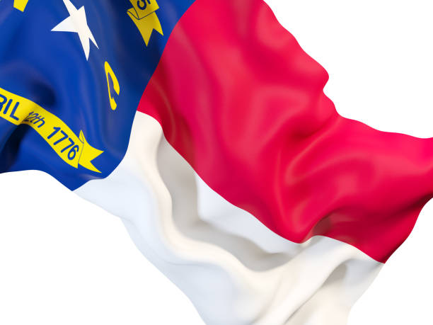 north carolina state flag close up. United states local flags north carolina state flag close up. United states local flags. 3D illustration north carolina us state stock pictures, royalty-free photos & images