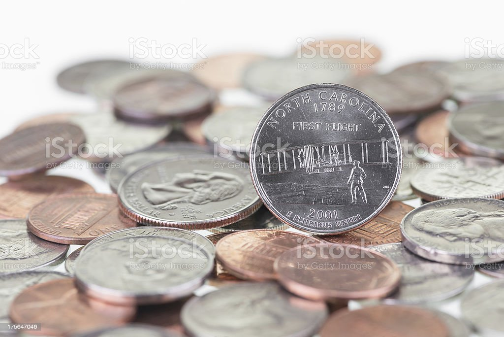 North Carolina State Quarter with coins extreme close up stock photo