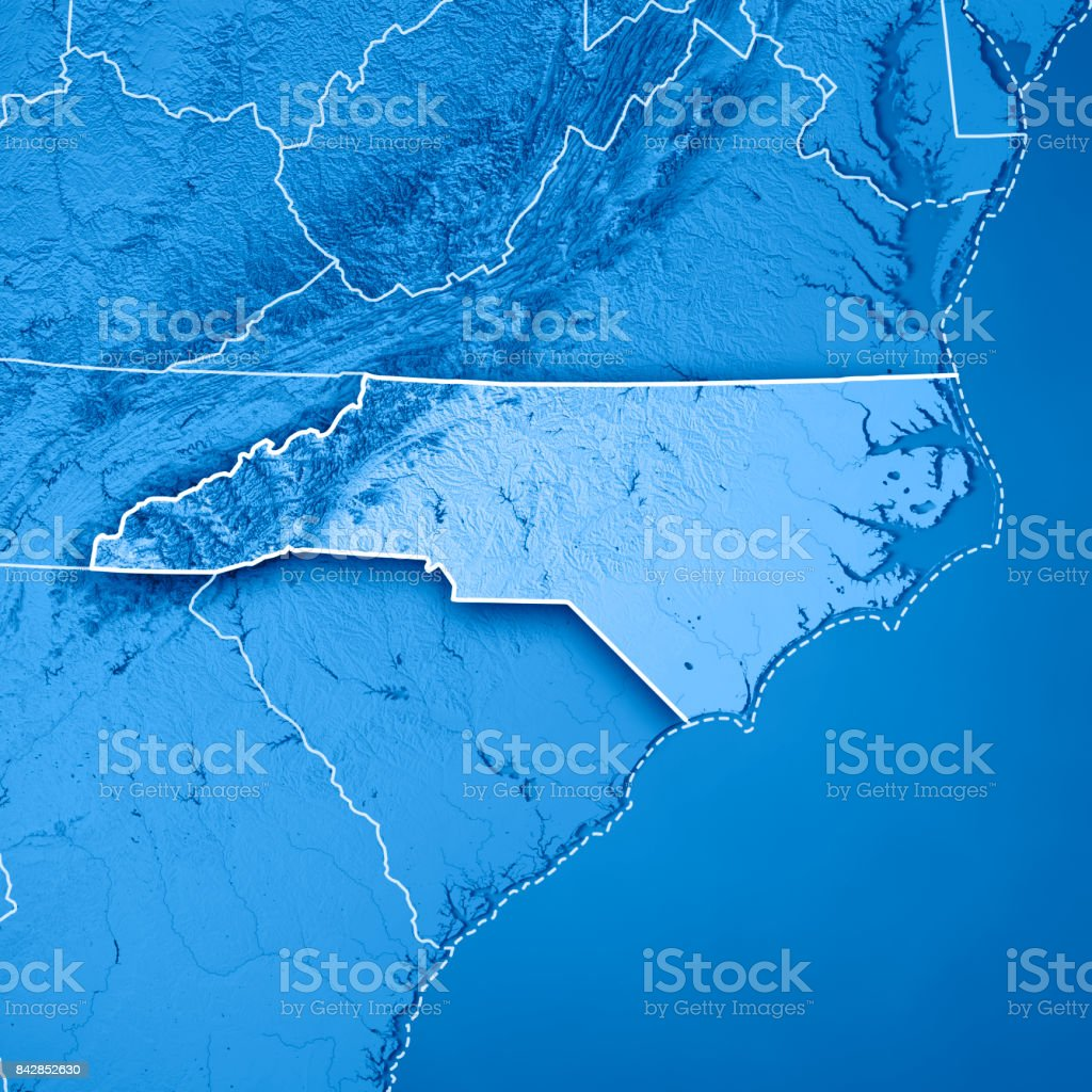 North Carolina State Usa 3d Render Topographic Map Blue Border Stock