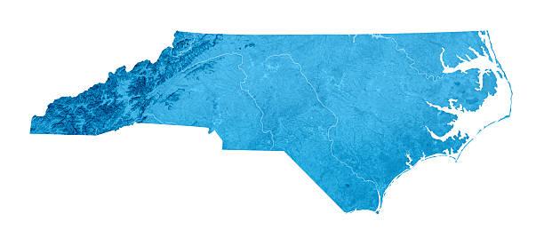 North Carolina Topographic Karte Isoliert – Foto