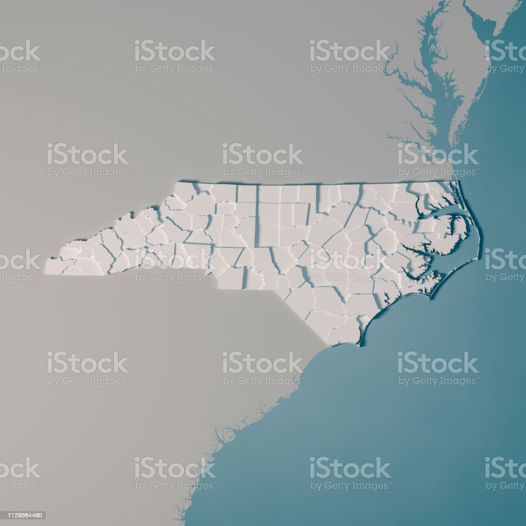 North Carolina Us State Map Administrative Divisions Counties 3d