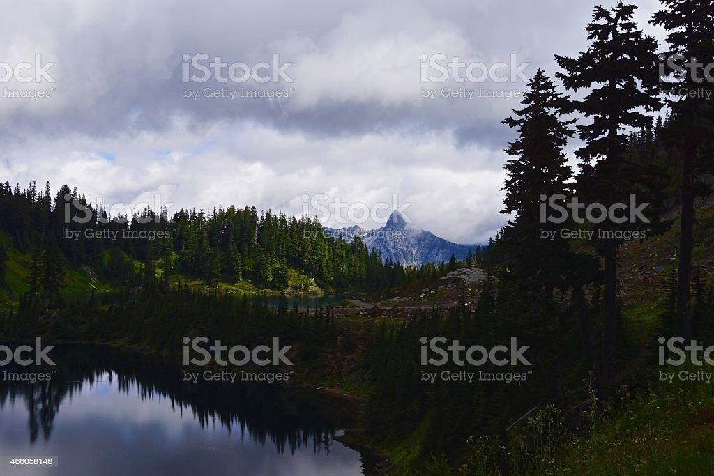 North Cascades Twin Lakes stock photo