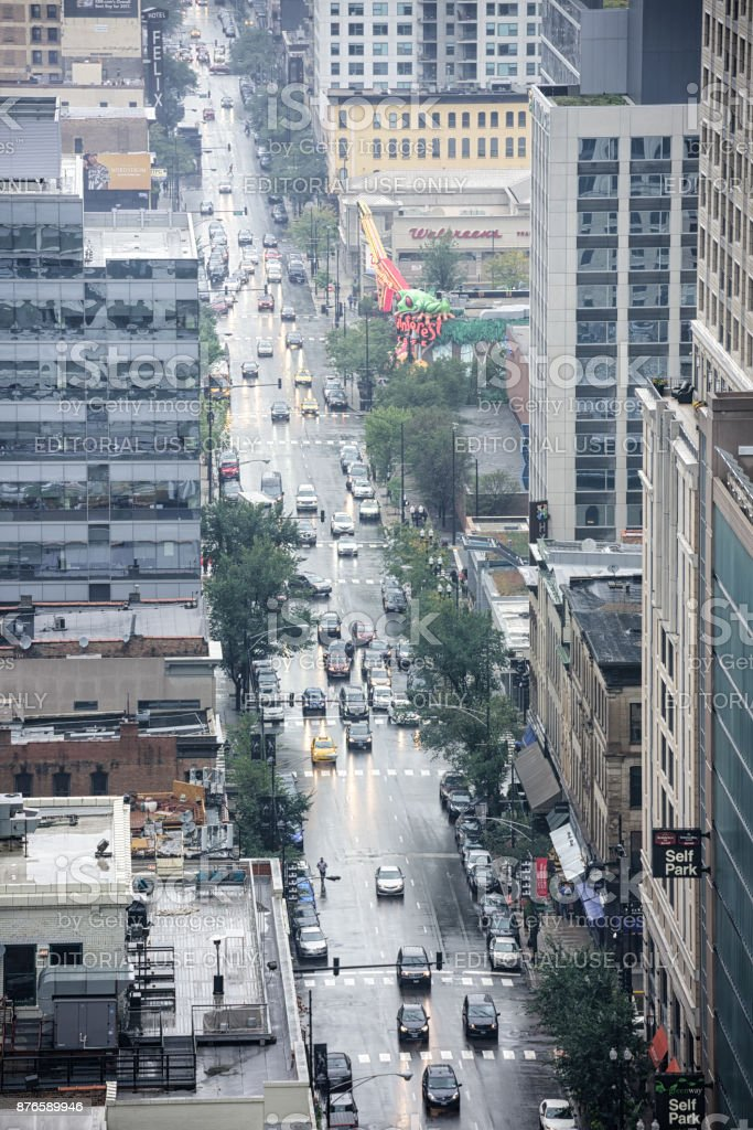 North Clark Street, rainy day, Chicago stock photo